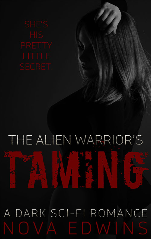 The mysterious cover for nova edwin's dark sci-fi novella the alien warrior's taming
